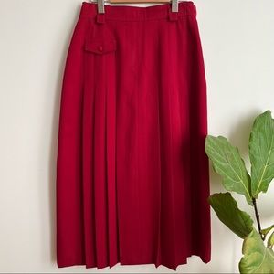 Vintage Jacques Vert Midi Skirt Pleated Wool Blend Size 8 Made In England